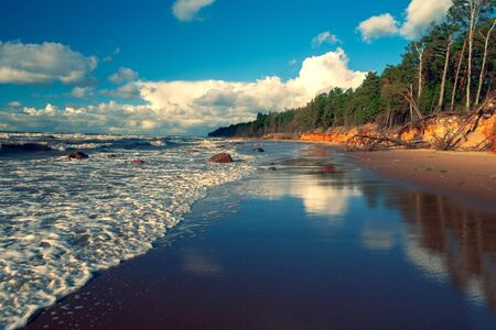 Storm on the sandy beach of the Baltic Sea on a sunny day with clouds on a blue sky. Latvia 版權商用圖片 - 144270984