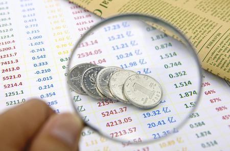 data sheet: Study of China coins on data sheet Stock Photo