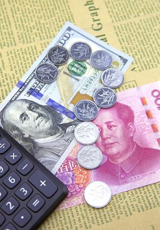 disparity: US dollar and China Yuan.Financial concept Stock Photo