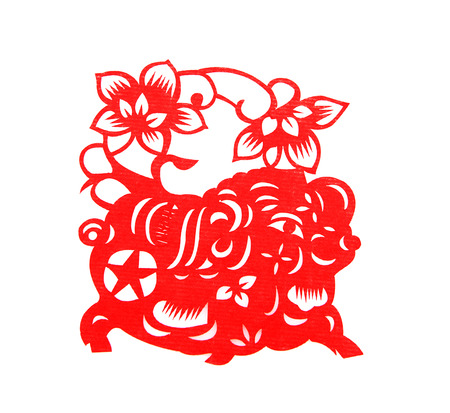 cut paper: Red paper cut a pig zodiac symbols Stock Photo
