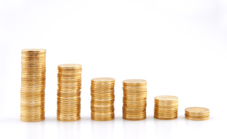 compounding: Stacks of gold money coins Stock Photo
