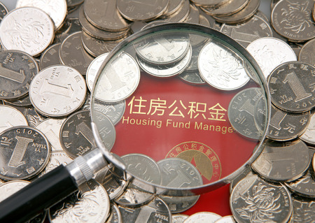 housing lot: A lot of coins and magnifier on the background of housing accumulation fund bankbook