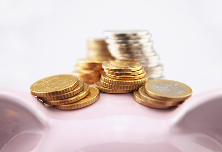 frugality: Coins and piggy bank