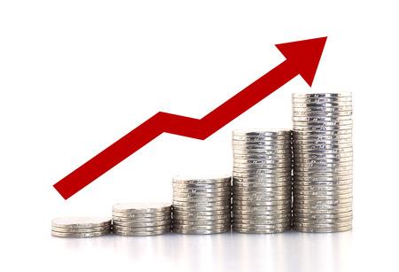 Rising munten Stockfoto