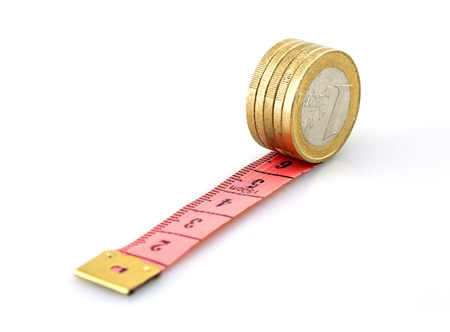 centimetre: Ruler with money on white Stock Photo
