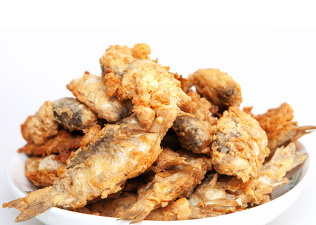 tiddler: Fried small fish Stock Photo