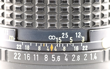 depth gauge: Manual lens depth ruler Stock Photo