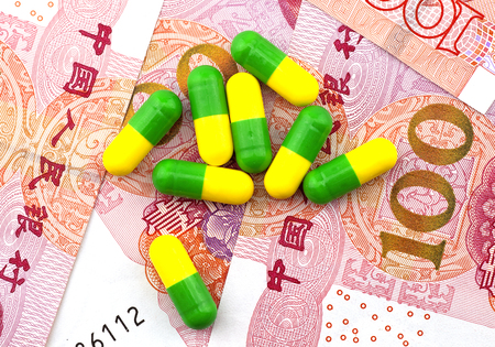 medical expenses: Medical expenses for drugs and RMB Stock Photo