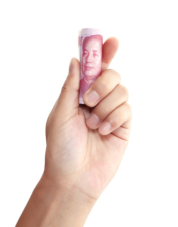 The hand with RMB banknotes Stock Photo
