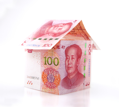 yuan: hundred yuan banknotes Stock Photo