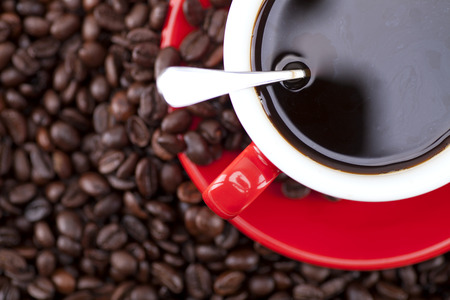 gules: Hot coffee and coffee beans Stock Photo