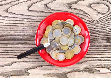 A plate of euro coins and a magnifying glass Stock Photo