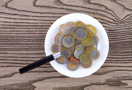 The plate in the euro coins and a magnifying glass Stock Photo