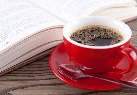 coffee with book Stockfoto