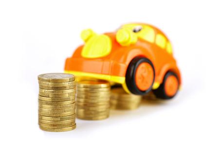 The car climbed up the coin