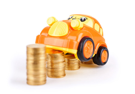 matting: A car model on a coin Stock Photo