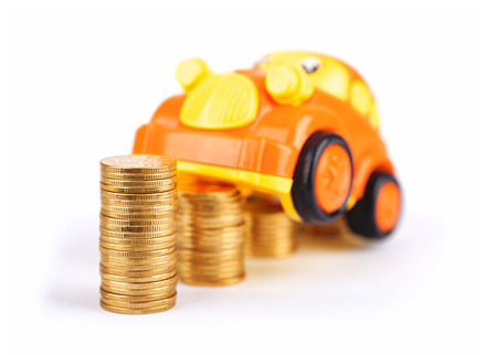 A car model on a coin Stock Photo