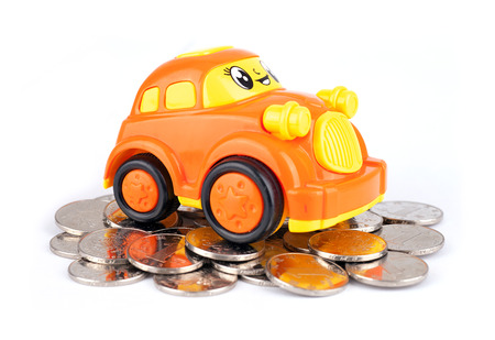 Car models on coins Stock Photo