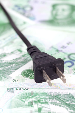Charging plug on RMB banknote