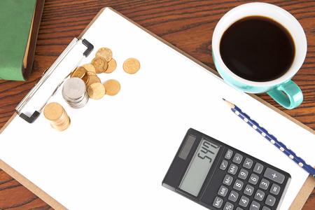 Financial scene with calculator