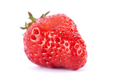 gules: Red strawberries on white background Stock Photo