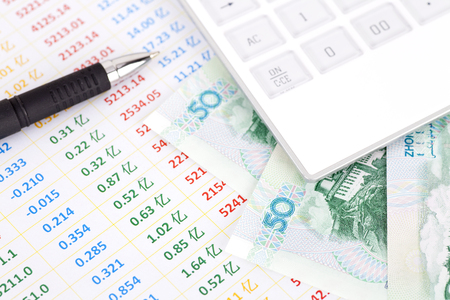 Calculators on financial tables and Chinese banknotes