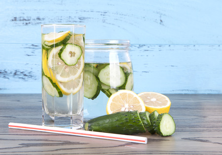 Fresh lemon cucumber and two cup lemon cucumber water Stock Photo