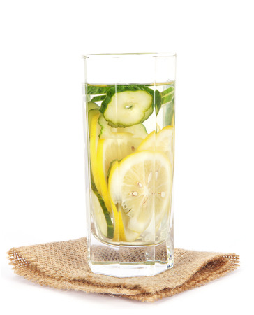 A cup of lemon cucumber water Stock Photo