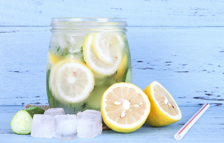 Iced lemon cucumber water