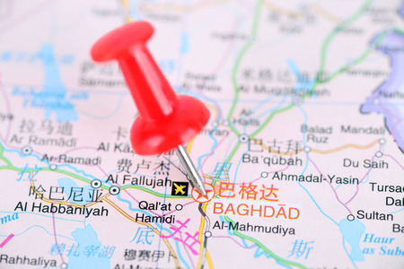 Baghdad, Iraqi capital close up view on a map