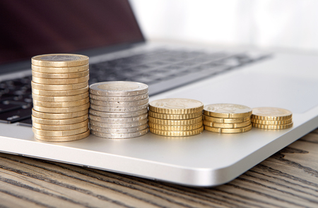 The concept of economic growth with coin stacks Stock Photo