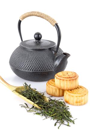 mooncake and chinese tea on white background Stock Photo