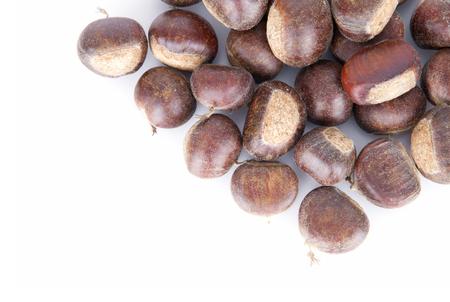 Fresh chestnut on white background