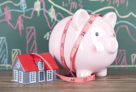 Save money to buy a house, concept background