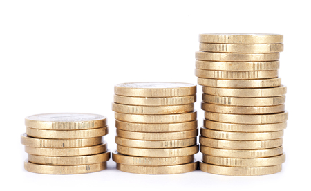 An increasing euro coin