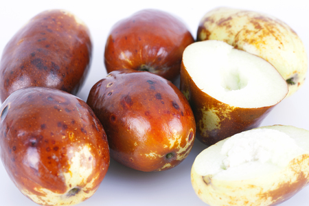 A pile of jujube on white background