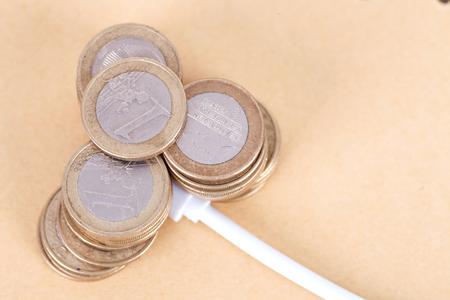 Concept of euro coins recharging