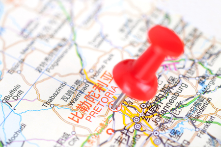 Pretoria close up view on the map