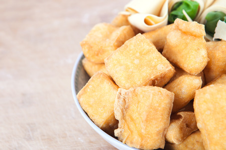 Fried tofu close up view Stock fotó