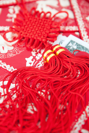 Chinese knot on red envelopes