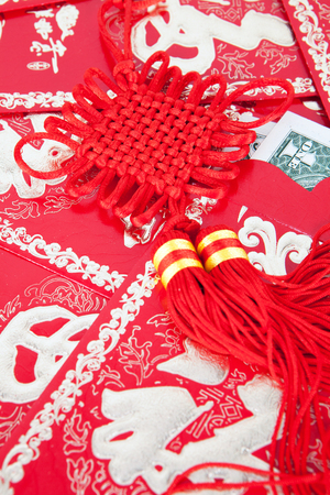 Chinese knot on red packet Stock Photo