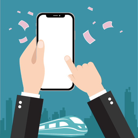 Hand holding smart phone Stock Vector - 92762389