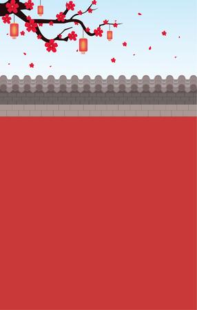 梅の木が付いた赤い壁