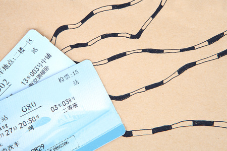 Train tickets on wooden  background Editorial