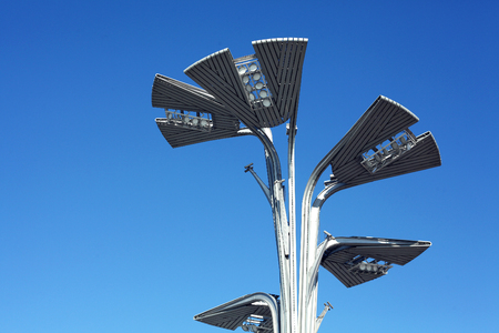 A street lamp under the blue sky