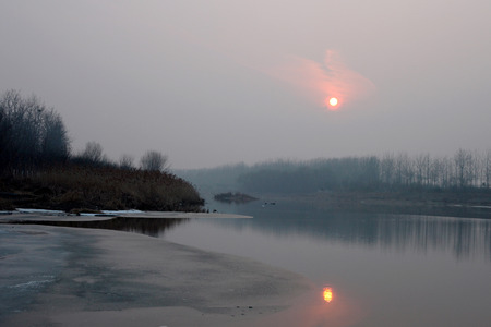 Landscape view of sunset on the river