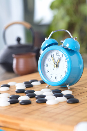 The alarm clock on the chessboard
