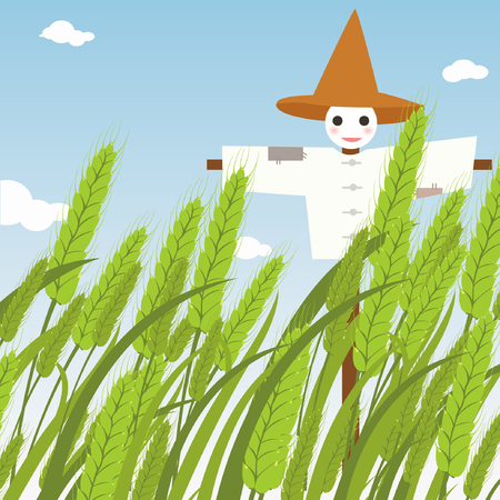 scarecrow at paddy Illustration