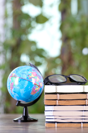 education books with globe