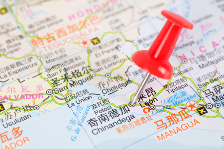 red push pin marking chinandaga for next travel Plan